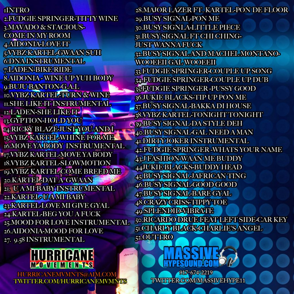 Hurricane Movements and Massive Hypesound-Couple Up Mix Back Cover